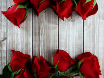 Rose card. Rose flowers   on wood background with decorations Stock Photography