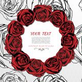 Rose card. Wreath made of red roses. Royalty Free Stock Photography