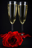 Rose and champagne Royalty Free Stock Photos