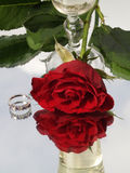 Rose and champagne Stock Images
