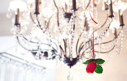 Rose on chandelier Royalty Free Stock Photography