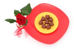 Rose and chocolate Royalty Free Stock Image