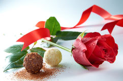 Rose With Chocolate. Still life on rose with chocolate on clean lighting Royalty Free Stock Photography