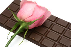 Rose and chocolate. The pink rose lays on a chocolate bar Stock Photography