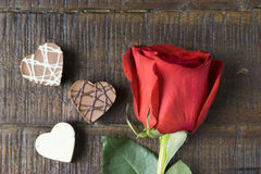 Rose and Chocolate stock images