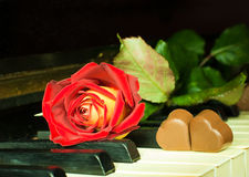Rose and chocolate hearts on a piano royalty free stock image