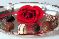 Rose and chocolates on silver. A red rose with chocolate candy on a silver tray Royalty Free Stock Image