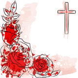 Rose and christian cross. On white background Stock Photography