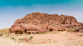 Rose City of Petra. Cave dwellings in the Rose City of Petra, Jordan. The city of Petra was lost for over 1000 years. Now one of the Seven Wonders of the Word Royalty Free Stock Photo