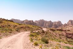 Rose City of Petra. Panoramic view of the Rose City of Petra from the high tombs Royalty Free Stock Photography