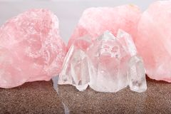 Rose and Clear Quartz healing crystals Stock Photography