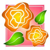 Rose Clip Art Yellow on Pink Royalty Free Stock Photos