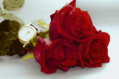 Rose with clock Royalty Free Stock Photos