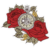 Rose Clock Retro Stock Photos