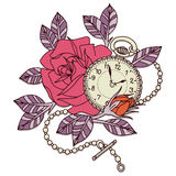 Rose Clock Tattoo Design Fotografia Stock
