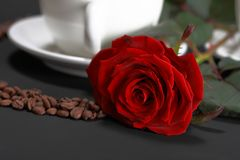 Rose, coffee beans and a cup. On black table Royalty Free Stock Image