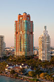 Rose Colored Condo Tower Rising in Morning Light Stock Photo