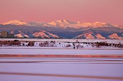 Rose-colored Dawn over Cherry Creek and Mt Evans Royalty Free Stock Photography