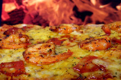 Rose colored garden prawns in wine marinade on tomato pizza Stock Photo