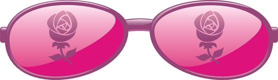 Rose Colored Glasses. In pink color on a white isolated background Stock Photo