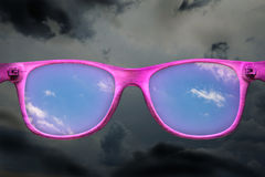 Rose-colored glasses Stock Photo