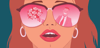 Rose-colored glasses. Portrait of a young woman in the rose-tinted glasses with a reflection of a man with a bouquet of flowers in them Stock Images