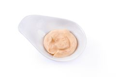 Rose-colored sauce in a white bowl Royalty Free Stock Image