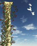 Rose Column with White Doves. Classical Corinthian temple column topped with acanthus leaves with climbing red rose vines and white doves against a blue sky, 3d stock illustration