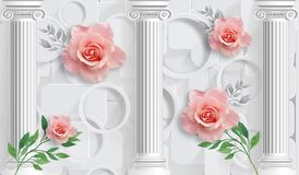 Rose and columns. Photo wallpaper for interior. 3D rendering. Rose and columns. Photo wallpaper for interior stock illustration