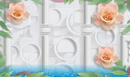 Rose and columns. Photo wallpaper for interior. 3D rendering. Rose and columns. Photo wallpaper for interior vector illustration