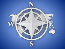Rose compass. On white background. 3d Royalty Free Stock Photo