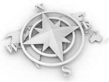 Rose compass. On white background. 3d Royalty Free Stock Photography
