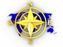 Rose compass. On white background. 3d Stock Photos