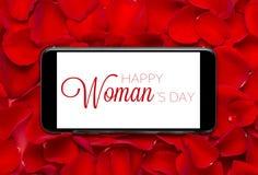 Rose con il giorno della donna internazionale dell'8 marzo sullo schermo mobile Immagine Stock Libera da Diritti