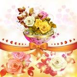 Rose con l'arco arancio Fotografia Stock Libera da Diritti