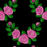 Rose Corner Embroidery Seamless Pattern rosa Fotografia Stock