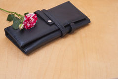Rose and cosmetic bag Royalty Free Stock Photo