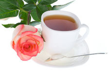 Rose and cup of tea Stock Photography