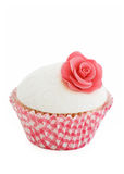 Rose cupcake. Pink rose cupcake isolated on a white background Royalty Free Stock Photography