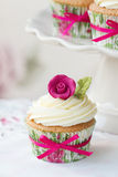Rose cupcake Stock Image