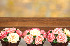 Rose cupcakes. On white plate with wooden floor and multicolor background royalty free stock image