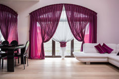 Rose curtains in modern interior Royalty Free Stock Photography