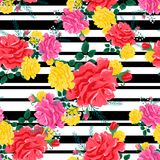 Rose cute seamless pattern4-01. Beautiful seamless pattern with pink,red,yellow roses on a black, striped background.Summer Vector illustration.Print for book Royalty Free Stock Photos