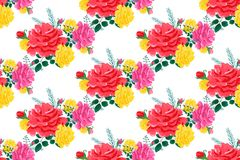 Rose cute seamless pattern66-01. Beautiful seamless pattern with pink and yellow roses on a white background.Summer vector illustration in the style of shabby Royalty Free Stock Photos