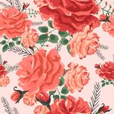Rose cute seamless pattern05-01. Beautiful seamless pattern with pink,red and yellow roses on a black background. Summer Vector illustration .Print for book Stock Photography