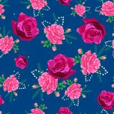 Rose cute seamless pattern00-01. Beautiful seamless pattern with pink roses on a blue background.Summer Vector illustration.Print for book covers, textile,fabric Royalty Free Stock Photos