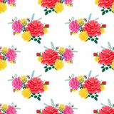 Rose cute seamless pattern2-01. Beautiful seamless pattern with pink and yellow roses on a white background.Summer Vector illustration in the style of shabby Stock Photos