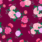 Rose cute seamless pattern pink 7-01 Stock Photo