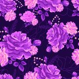 Rose cute seamless pattern violet-01 royalty free illustration