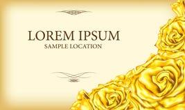 Rose d'or avec le texte à une carte ou à une invitation Vecteur Illustratio Images stock